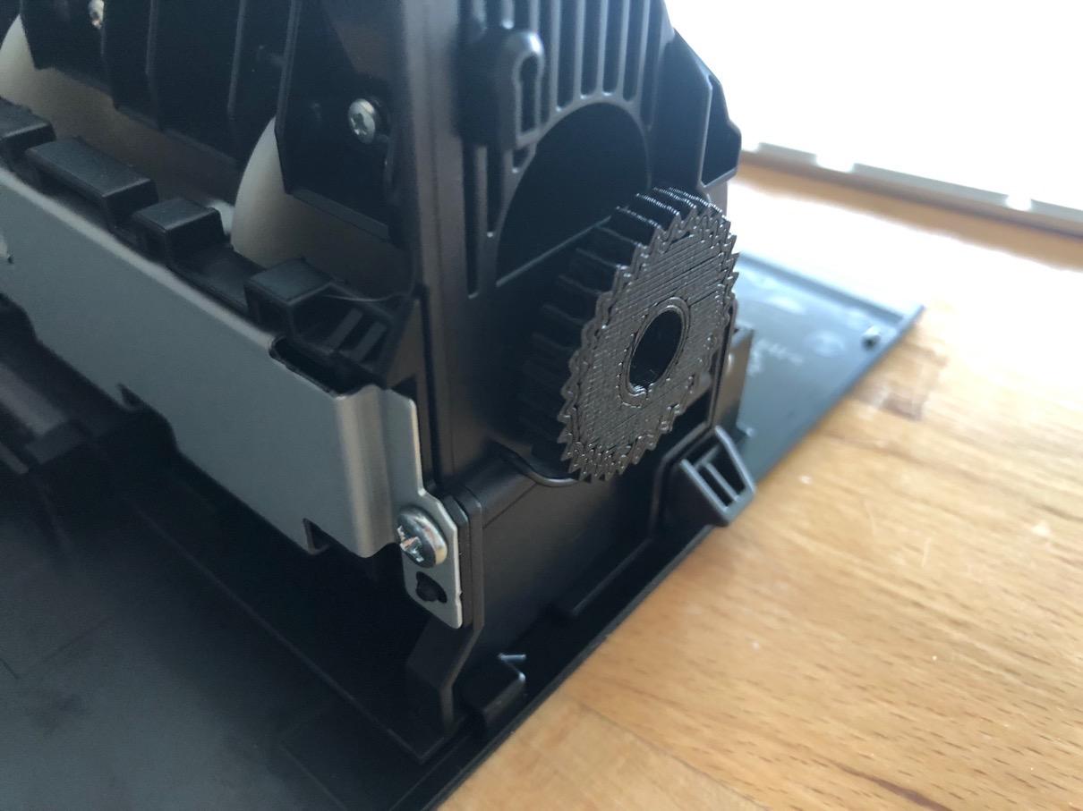 Gear on paper feed